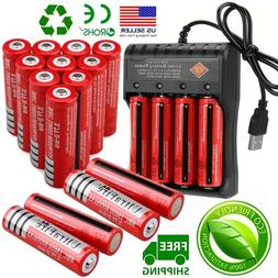 10X Powered UltraFire 18650 Battery 3.7V Li-ion Rechargeable