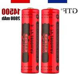 14500 Lot of 2 x Battery Rechargeable Battery 2800 MAH 3,7V