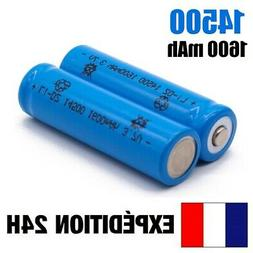 14500 - Lot Of 2 X Battery Rechargeable Battery 1600 MAH 3,7