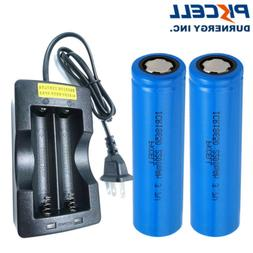 2 ICR 18500 Lithium Rechargeable Batteries 3.7V 1400mAh Flat