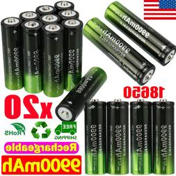 2-20 Pack Batteries 3.7v Li-ion Rechargeable Battery For LED
