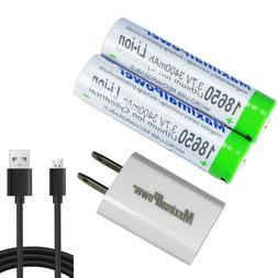 18650 Rechargeable Batteries with Mirco USB Port+Cable+USB A