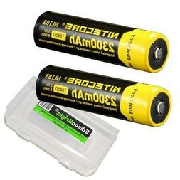2 X Nitecore 2300mAh 18650 Protected Rechargeable Batteries