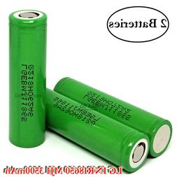 2x LG INR 18650 MJ1 3500mAh 10A Rechargeable High Drain Flat