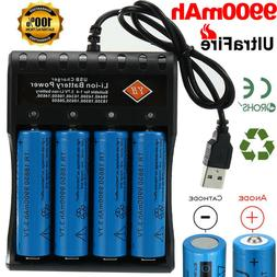 4 X 18650 Battery 3.7v Rechargeable Batteries +4-Slot Charge