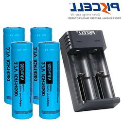 4pcs PKCELL 14500 Rechargeable AA Li-ion Batteries 800mAh 3.
