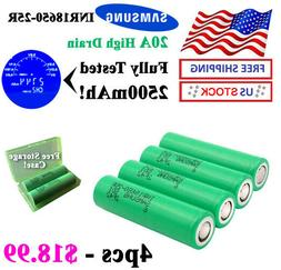 4pcs SAMSUNG 25R - 20A High Drain Li-Ion Battery 2500mAh + P