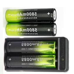 4X 18650Battery 3.7V li-ion Rechargeable Battery 1X Charger