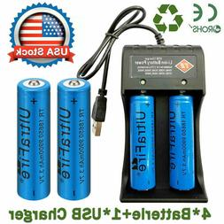 4X 3.7V Li-ion Lithium Rechargeable 18650Batteries + 1X USB