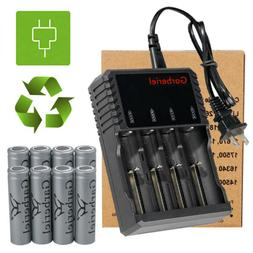 8pc flat top 18650 battery rechargeable 3