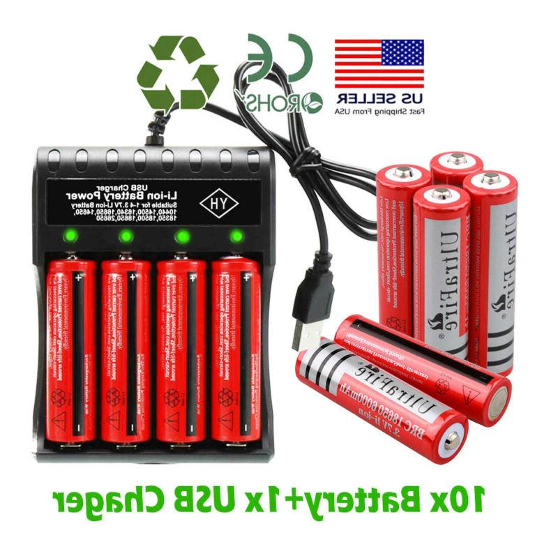 10X UltraFire 18650 Battery Li-ion Rechargeable Batteries Chargers