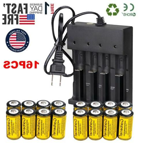 16 x cr123a 16340 li ion rechargeable