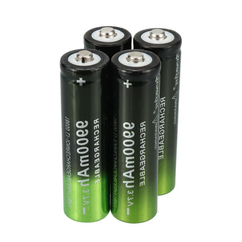 2/4PCS Batteries Rechargeable + Dual Charger Flashlight