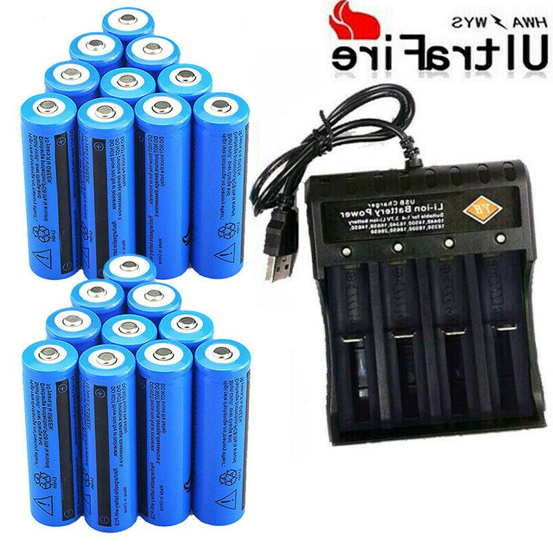20X Powered Batteries 3.7V Rechargeable Battery Chargers