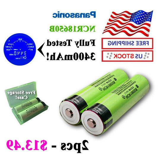 2pcs 2019 ncr18650b button top batteries fully