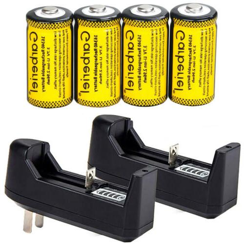 4pcs cr123a 2800mah rechargeable batteries 16340 battery